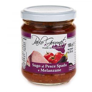 sos pomidorowy z miecznikiem i bakłażanem